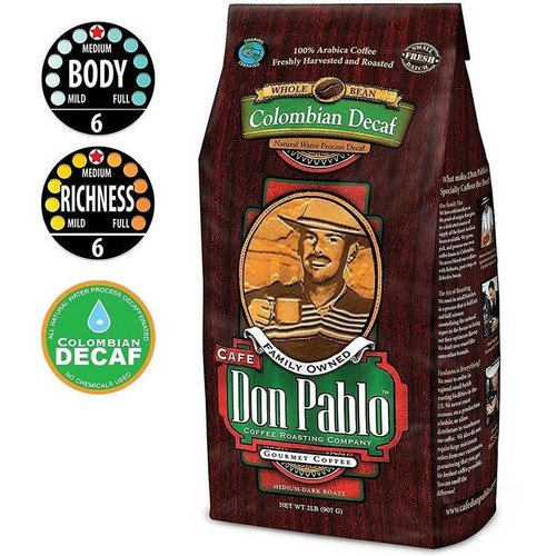 5LB Cafe Don Pablo Decaf Swiss Water Process Colombian Gourmet Coffee Decaffeinated - Medium-Dark Roast - Whole Bean Coffee - 100% Arabica, 5 Pound