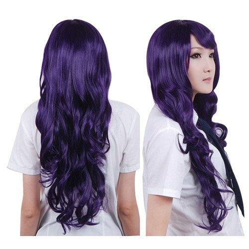 """Anogol Vocaloid 32"""" 80cm Long Wavy Women's Costume Wigs Lolita Cosplay Wig Half Black and White Wig For Halloween Party"""