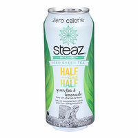 Steaz Zero Calorie Green Tea - Half And Half - Pack of 12 - 16 Fl Oz.