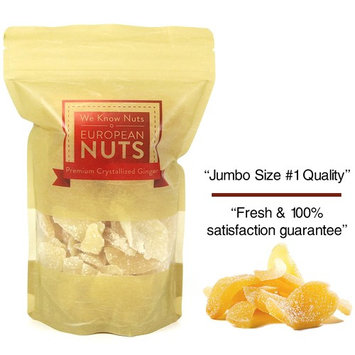 European Nuts Premium Dried Crystallized Ginger | Sweet, Spicy, Moist and Chewy Tasted | Fresh, Crunchy Sugar Coated Slices | Resealable Jumbo Bag - 1 lb
