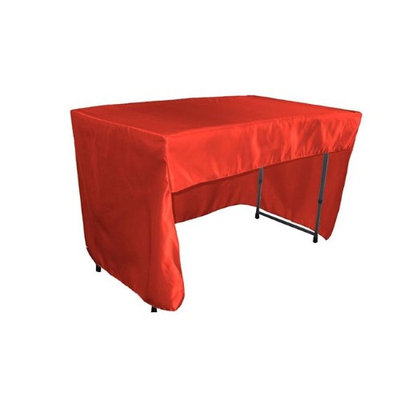 LA Linen TCbridal-OB-fit-48x24x30-RedB98 Open Back Fitted Bridal Satin Classroom Tablecloth Red - 48 x 24 x 30 in.