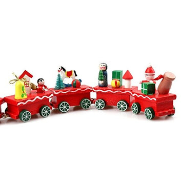 Christmas Toy Gift, Sandistore 6 Pieces Wood Christmas Xmas Train Decoration Decor Gift