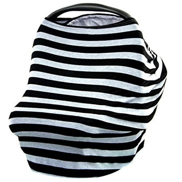 JLIKA Baby Car Seat Covers - Stretchy Infant Canopy and Nursing cover for breastfeeding newborns infants babies girls boys best shower gift maternity apron infinity scarf carseats! (Gray Black Stripe)