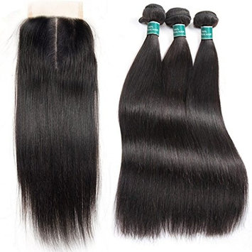 ALI GRACE Hair Brazilian Straight Human Hair 3 Bundles Deal With 4x4 Lace Closure Free Part Natural Color Remy Hair (22