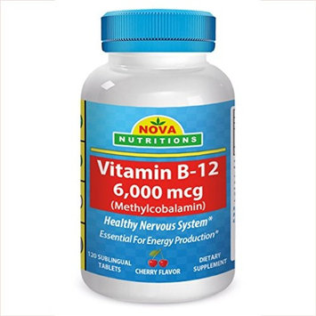 Vitamin B-12 6000 mcg 120 Sublingual Tablets by Nova Nutritions (Methylcobalamin cherry flavor)