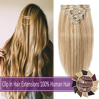 100% Human Hair Clip in Hair Extensions Highlight 70-120g Long Straight Remy Hair Clip in Extensions 8 Pieces 18 Clips Thick Soft Silky 18