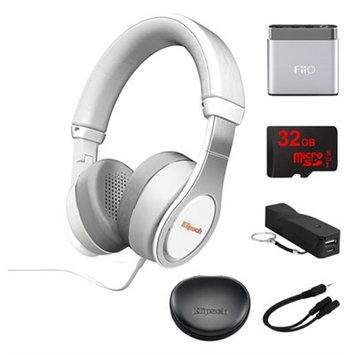 Klipsch Reference On-Ear II Headphones (White) w/ FiiO Portable Amplifier Bundle