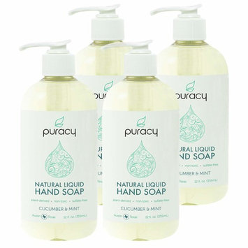 Puracy Natural Liquid Hand Soap, Vegan Gel Hand Wash, Cucumber & Mint, 12 Ounce (4-Pack)