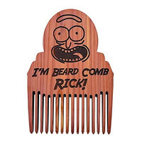 Rick and Morty Beard Comb Rick! - Rick Sanchez - Made in the USA - Anti Static and No Snag Design (With Black Leather Case)