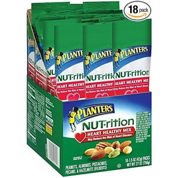 Planters Nutrition Heart Healthy Mix, 1.5 Ounce , 18 Count - Pack of 3
