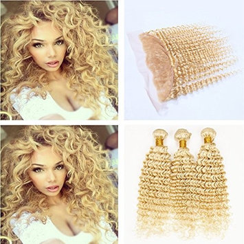 Ruma Hair #613 Blonde Brazilian Deep Wave Curly Virgin Human Hair Weave 3 Bundles With 13x4 Ear to Ear Full Lace Frontal Closure 4Pcs Lot (16 with 16 18 20)