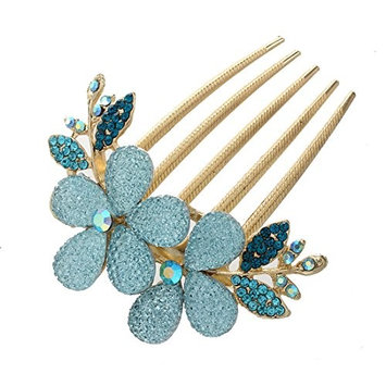 TOOGOO(R) Womens Floral Design Alloy Rhinestone Crystal Hair Clip Comb (Blue)