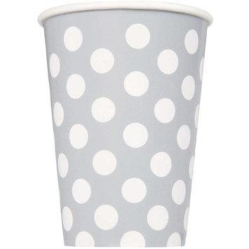 12oz Paper Silver Polka Dot Cups, 6ct