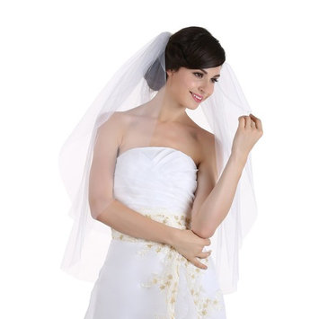 2T 2 Tier Cut Edge Bridal Wedding Veil - Ivory Shoulder Length 25