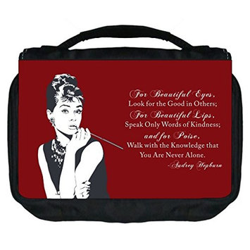 Rosie Parker TM Small Travel Sized Hanging Cosmetic/Toiletry Case with 3 Compartments and Detachable Hanger-Made in the U.S.A.- Audrey Hepburn Quote on Vintage Burgundy