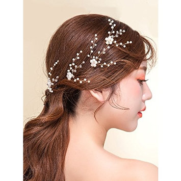 Missgrace Bridal Gold Copper Wire Hair Pins Women Crystal Flower Headpiece Wedding Gold Leaf Hair Pins Clip Hair Jewelry Wedding Hair Accessories Set of 4