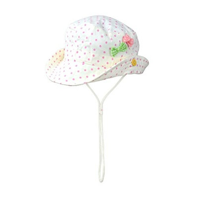 Toddler Baby Kids Cotton Sun Protection Brim Hat w/ Straps, White Pink Green