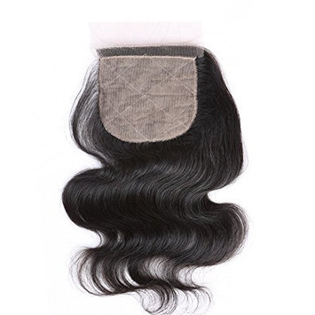 Sent Hair Silk Base Lace Closure Body Wave Human Hair with Baby Hair Free Part Closure 4x4 Bleached Knots Hair Pieces [Free Part -Natural Color, 8