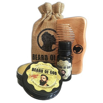 Beard of God Oil + Balm + Wood Comb & Sack Organic TOBACCO HAVANA Sample Pack