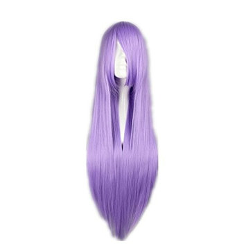 Cosplay Wig Long Straight Purple Lilac Hair Halloween Heat Resistant Synthetic Wigs