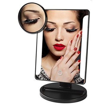 IEKA Tabletop LED Lighted Vanity Mirror/Natural Bright Light Makeup Mirror with Touch Screen,180 Degree Rotation,Movable with 10x Magnification Spot Mirror,AA Batteries Included(4 Pack) (Black)