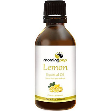 Morning Pep LEMON OIL 4 OZ Large Bottle 100 % Pure And Natural Therapeutic Grade, Undiluted unfiltered and with no fillers, no alcohol or other additives, PREMIUM QUALITY Aromatherapy LEMON Essential oil (118 ML)