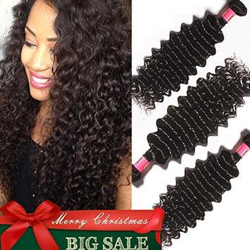 ASHAIR Brazilian Deep Wave 3 Bundles Virgin Brazilian Curly Human Hair 7A Unprocessed Brazilian Virgin Deep Wave Hair Extensions 300g/Total