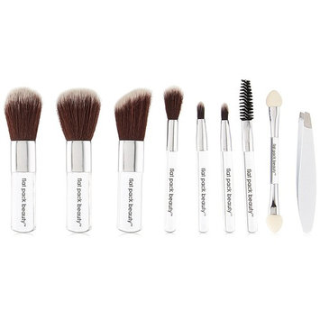 "MICRO BEAUTY MINI POCKET 10 PC BRUSH SET ~ Travel Friendly Portable Compact 3"" Brushes Tweezers Case ~ Vegan & Cruelty-free!"