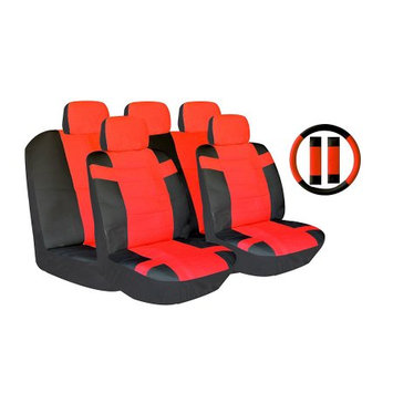 Lavohome 14 Piece Luxury Two Tone PU Synthetic Leering Wheel - Seat Belt Pads (Red/Black)