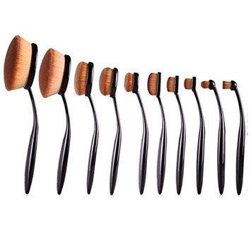 Yphone 10-Pc Best Seller Hollywood Collection Luxurious Ultra Soft Oval Foundation Concealer Powder Makeup Brush Set (Pack of 10)