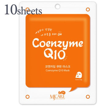 The Elixir Beauty The Elixir MJ Care On Korea Essence Full Face Facial Mask Sheet - Coenzyme Q10, Korean Beauty Cosmetic (Pack of 10)