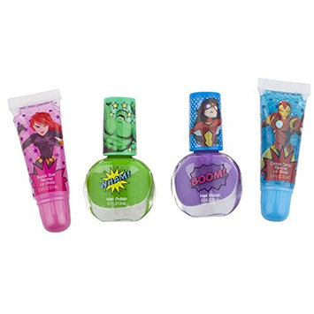 Townley Girl Marvel Avengers Kiss It Paint It Lip Gloss and Nail Polish Set with Glittery Makeup Bag