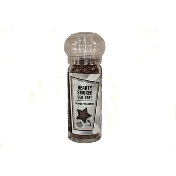 Hearty Smoked Sea Salt in a refillable spice grinder bottle