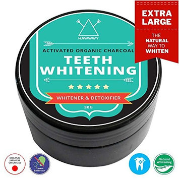 Charcoal Teeth Whitening Powder - Activated Japanese Bamboo Charcoal Teeth Whitening Detoxifying Powder / By HAWWWY