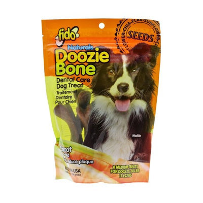Fido Naturals Doozie Bone - Dental Care Dog Treat, Carrot Flavored, 8ct - Medium Treats (Pack of 3)