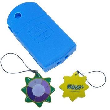 HQRP Protective Silicone Blue Shell Case Cover compatible with Mazda 5, Mazda5, Mazda Premacy Advanced Smart Intelligent Car Key + HQRP UV Meter