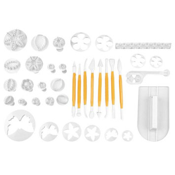 Sugarcraft Cake Decorating Fondant Icing Plunger Cutters Mold Tool 37 in 1