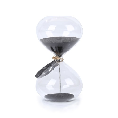 Biloba 4.5 Inch Puff Sand Timer/Hourglass 3 Minutes - Black Color Sand - Inspired Glass/Home, Desk, Office Decor