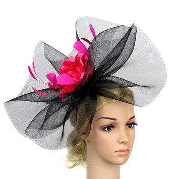Fascinator Hat, Coxeer Elegant Flower Veil Headdress Hair Clip Hat Party for Women Ladies Girls