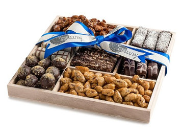 The Nuttery Ny Wooden 5 Section Square- Chocolate and Premium Nuts-Blue Ribbon