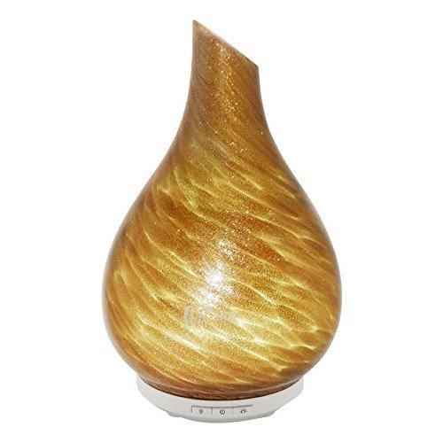 SpaRoom Bliss Handblown Glass Ultrasonic Essential Oil Diffuser, Gold, 1.35 Pound