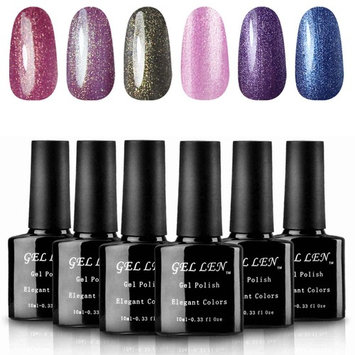 Gellen Gel Nail Polish 6 Various Colors Collection - Cat Eye Color Changing Glitter Gel, Pink Fur Gel and Smoky Gray Glaxy Holographic