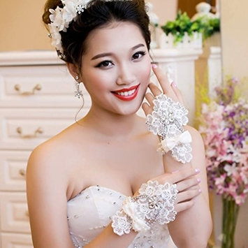 Exquisite Selebrity Fingerless Lace Bridal Glove with Rhinestone and Pearl