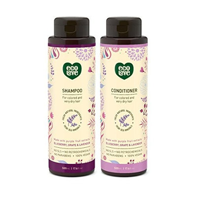 100% Vegan Shampoo by EcoLove Made with Organic Tomato Beetroot and Red Pepper for Normal to Oily Hair Cruelty Free Organic Hypoallergenic Natural SLS Free and Sulfate Free - 17.6 oz
