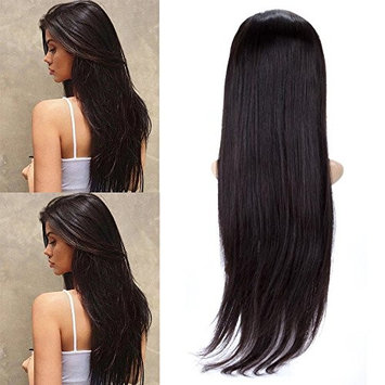 BeliHair Human Hair Wig Straight Lace Front Wigs Brazilian Remy Glueless with Baby Hair for Black Women 130% Density Natural Black 22 inch []