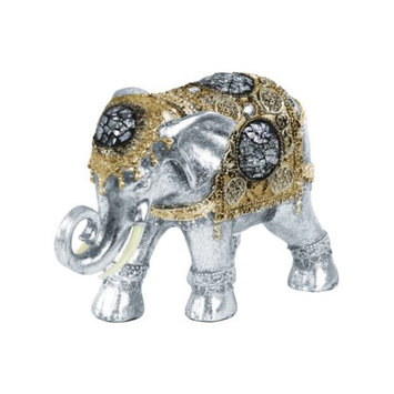 Glittering Elephant Engraved Design Gold Embedded Glass Gem-Silver-Benzara