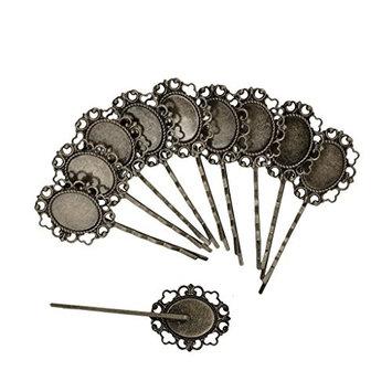 MagiDeal 10 Pcs Retro Bronze Gothic Flower Blank Oval Hair Clip Pin Headwear Jewelry