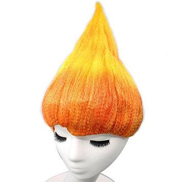 Anogol Hair Cap+Orange Yellow Princess Troll Wig Poppy Wacky Trolls Cosplay Wigs for Adults Kids