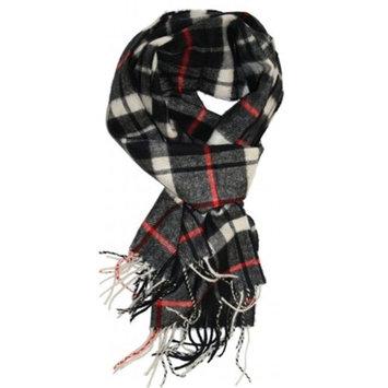 Living Health Products CFPSB_Black Cashmere Feel Plaid Scarves - Black