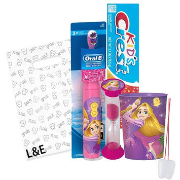 Disney Princess Rapunzel 4pc Bright Smile Oral Hygiene Bundle! Tangled Turbo Powered Toothbrush, Toothpaste. Brushing Timer & Mouthwash Rinse Cup! Plus Dental Gift & Remember to Brush Visual Aid!